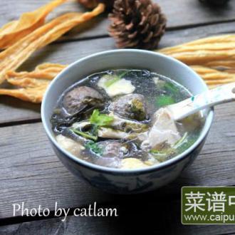 牛丸腐竹紫菜汤