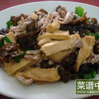 冻豆腐炒肉排云耳