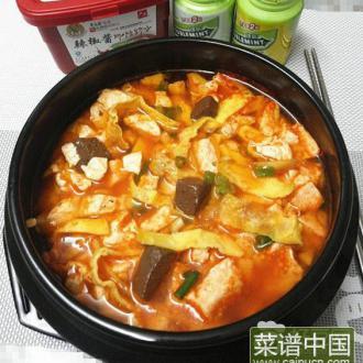 韩国辣酱鸭血豆腐锅