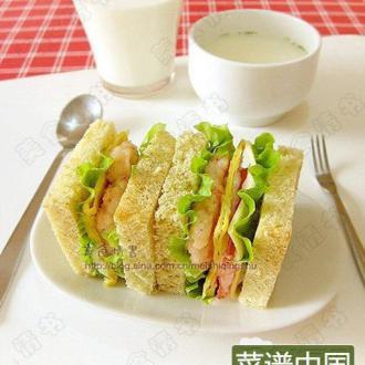 虾排三明治