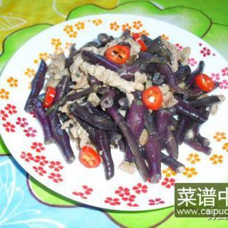 肉丝炒紫豆角