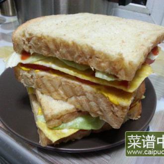 鸡蛋西红柿三明治