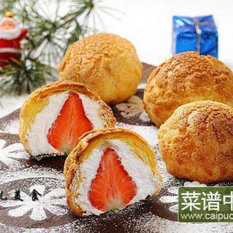 草莓熔岩泡芙