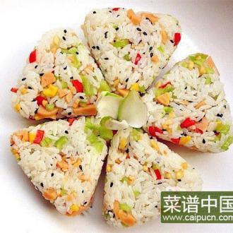 黑芝麻玉米肠饭团