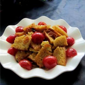 樱桃西红柿虾皮炒饽饽