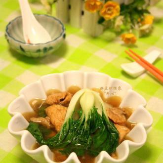 奶白菜肉片汤
