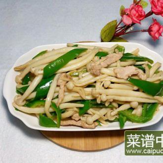 肉丝炒鲜菇