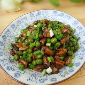 爆炒淡菜甜青豆