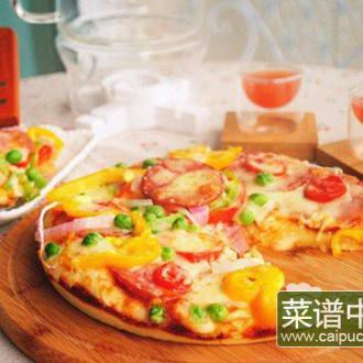 五彩火腿披萨