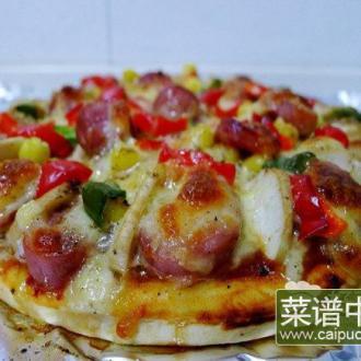 黑椒热狗杏鲍菇披萨