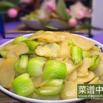 青菜梗炒土豆片