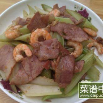 烟肉虾仁炒芹菜