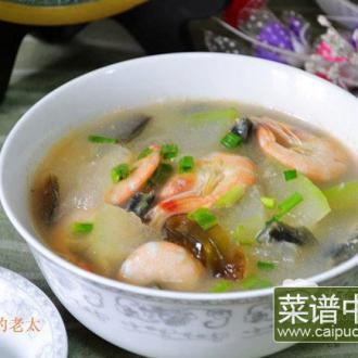 皮蛋白虾冬瓜汤