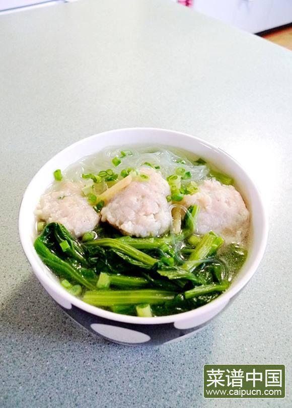 粉丝鱼滑滚芥菜汤