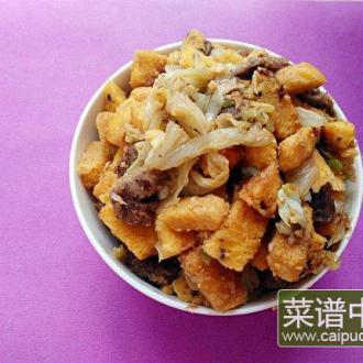 杂粮馒头焖白菜叶