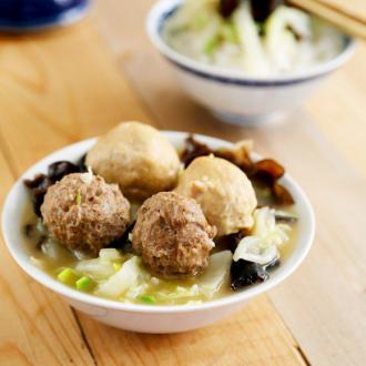 白菜烩圆子#本味家乡