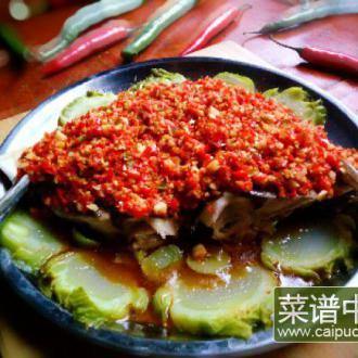 儿菜蒸剁椒鱼头