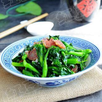 青菜苔炒香肠
