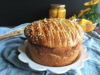 面包机版黄桃面包派的做法步骤19