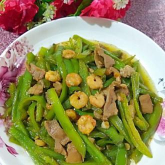 鲜虾瘦肉炒青椒