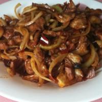 洋葱炒肘子肉片的做法步骤9