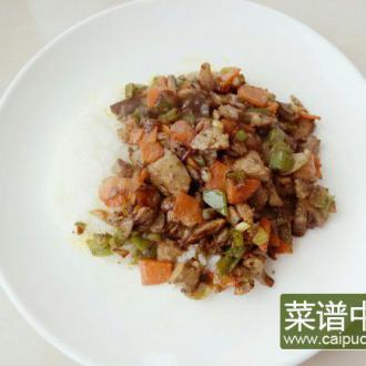 青椒口蘑鸡肝盖饭