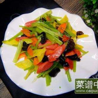 芹菜木耳炒火腿