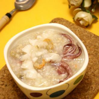 鲜鱿肉末虾米粥