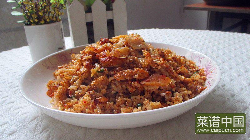 辣白菜炒饭的做法步骤9
