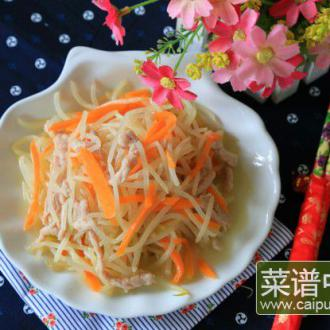绿豆芽炒肉丝