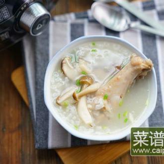 #盛夏餐桌#鸡腿菌菇粥