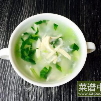 鸡丝青菜粥