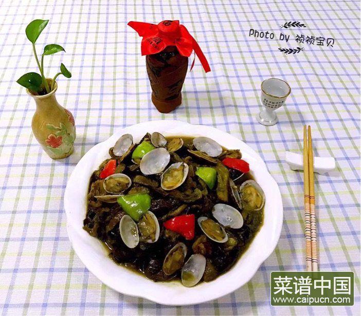茄条五花肉炖蚬子的做法步骤12