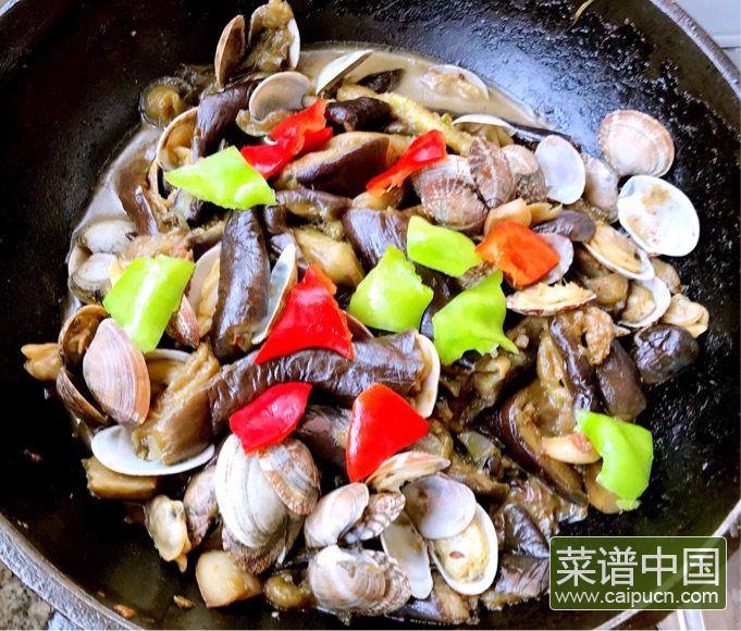 茄条五花肉炖蚬子的做法步骤10