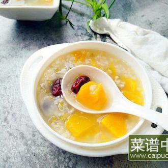 南瓜绿豆红枣粥