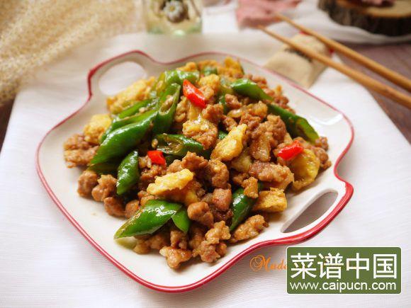 绿辣椒炒蛋肉末的做法 步骤