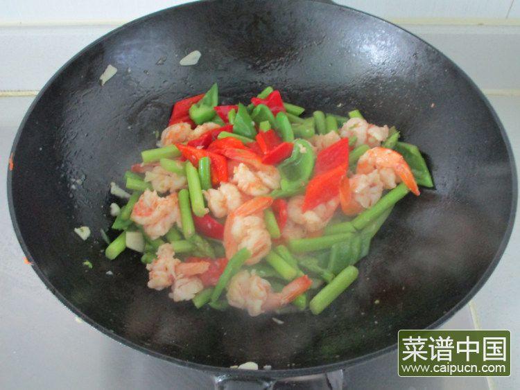 芦笋青椒凤尾虾的做法步骤11