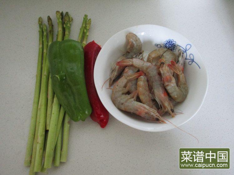 芦笋青椒凤尾虾的做法步骤1