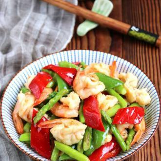 芦笋青椒凤尾虾