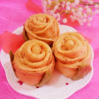 火龙果玫瑰花馒头
