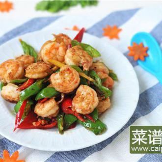 青红椒炒虾球