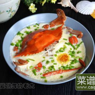 梭子蟹蒸咸鸭蛋