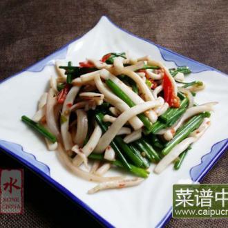 韭菜苔炒鲜鱿