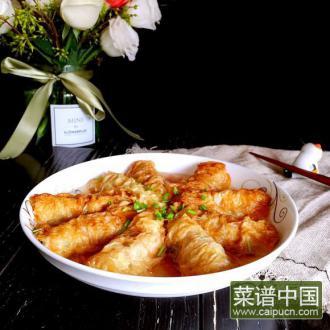 咸肉蒸豆腐皮包