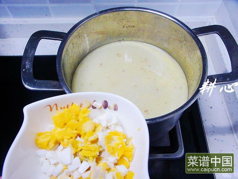咸鸭蛋银鱼紫菜汤的做法步骤4