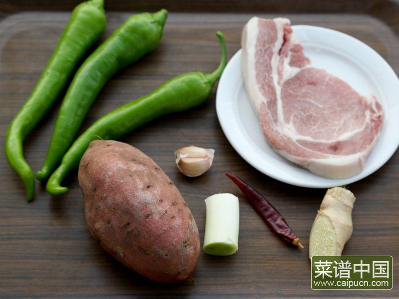红薯炒肉片的做法步骤1