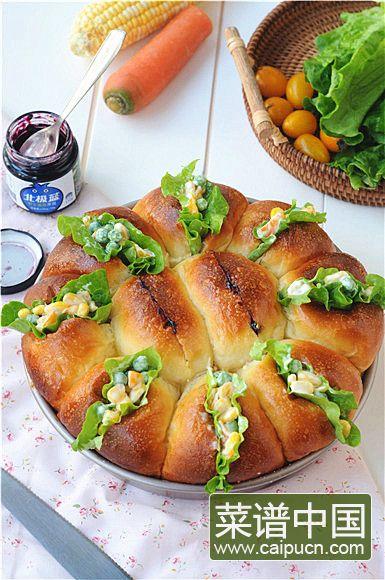 蓝莓沙拉花环面包的做法步骤19