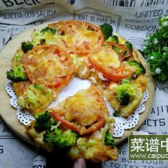 西兰花虾仁披萨