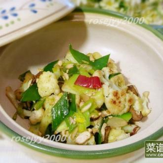 干锅咸蛋白花菜