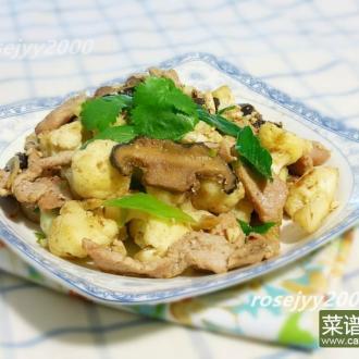 咸蛋肉片炒椰菜花